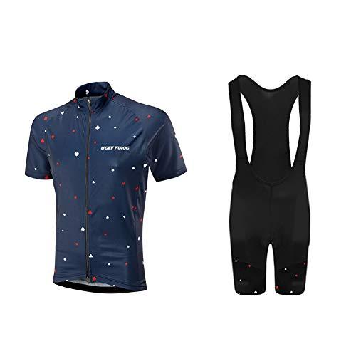 Uglyfrog Moda Maglia Ciclismo Jerseys per Uomo: Corta Manica Tuta Estivo + Pantaloni Corti di Ciclismo; Abbigliamento Ciclismo Sportivo Professionale Traspirazione Comodo DTMX03F