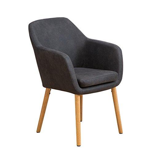 riess-ambiente.de Design Armlehnstuhl Supreme Vintage grau Beine aus Massivholz Esszimmerstuhl Esszimmer Sessel mit Armlehnen
