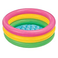 Zolimx Small Paddling Pool Inflatable Swimming Pool For Toddler Children Kids Baby Rainbow Round Paddling Pool 3-Ring Sunset Glow