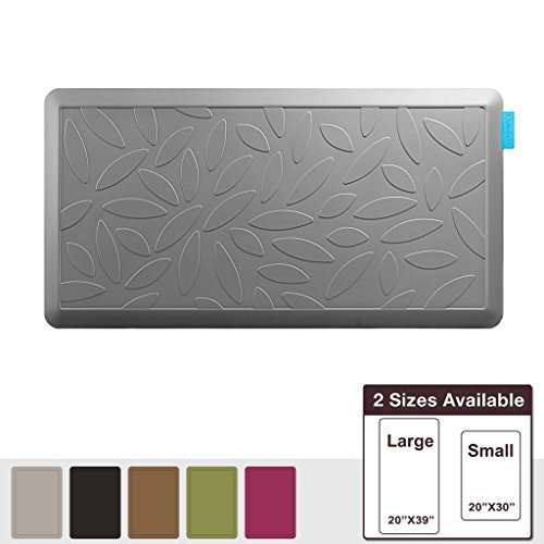 NUVA Salon Antislip Anti-fatigue Mats Antimicrobial >99.9%, Non-toxic Odor, Water Resistant, 39x20x0.75 inch., Various sizes & colors, Commercial Grade:10 years Warranty(Putty Gray, Leaf Pattern) by Nuva