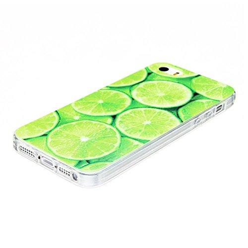 Coque iPhone 5S (4.0 pouce) , TPU Transparente Pastèque Case Slim Souple Étui de Protection Soft Cover Anti Choc Ultra Mince Silicone Couverture Motif Design Bumper Gel Anfire Housse pour iPhone 5S /  Vert Citron