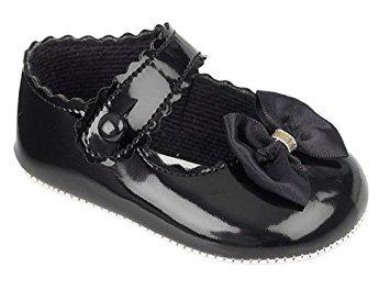 Imagen para Bahía Pod Negro Patente cochecito de bebé niña zapatos con lazo. Disponible en tamaños 0–18meses negro negro Talla:12-18 meses
