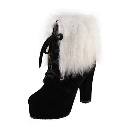 ENMAYER Womens Suede Furry Platform Round toe Lace up Block High Heel Party Dress Bottes de cheville Noir