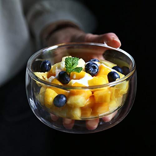 SED Besteck Set Creative Bowl Restaurant Dish Western Teller, Dessert Salatschüssel Eisbecher Transparent Doppel Kleine Schüssel Glasschüssel 4,5 Zoll