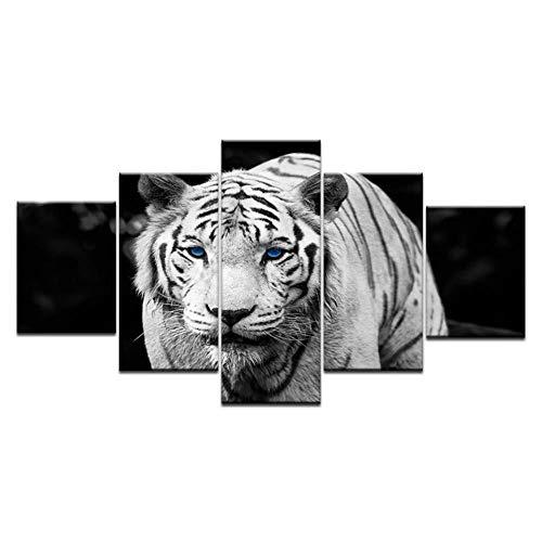 IDzf 5 Leinwand Gemälde Wandkunst Hd Drucke Bilder 5 Stücke Modulare Blaue Augen Tiger Leinwand Gemälde Wohnkultur Schwarz Und Weiß Tier Poster -