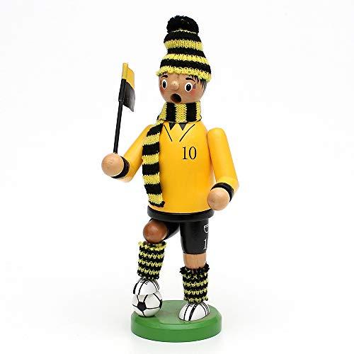 Deko-Geschenke-Shop Räuchermann Fußballer Dortmund 20 cm groß gelb schwarz Räucherfigur