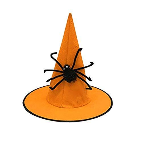 Kostüm Unterschiede Spider Und Mann 1 2 - bloatboy Festival Nonwoven Spider Wizard Hat - Hexenhut für Damen Halloween Horror Party schwarz Hexe Hut Kopfbedeckung (Orange)