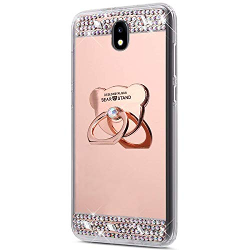 Surakey Cover Compatibile con Samsung Galaxy J7 2017, Specchio Silicone Morbido Cover con Anello Supporto Glitter Bling Strass Lusso Mirror Case Ultra Sottile Protettiva Custodia,Orso Oro Rosa