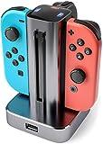 innoGadgets 4in1 Ladestation kompatibel mit Nintendo Switch Controller Joy Con | Ladegerät mit LED-Anzeige | Lade-Dock für 4 Joy Con Controller - mit USB-Port für weiteres Gerät - Space Grau