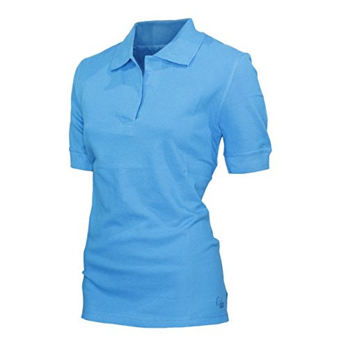 Lässige Cotton Polo Shirt (Raptor Hunting Solutions Lässig Damen Pique Polo Shirt Kragen Hals Kurz Gerippt Ärmel Hawaiian Ocean)
