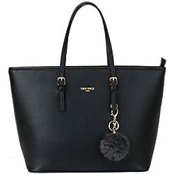 LI&HI Damen Handtasche Shopper Handtasche Schwarz Elegant Schwarze Tasche Damen Groß Portemonnaie Damen Gross mit Kaninchen Pelz Kugel Plüsch Schlüsselring (Verbesserte Version)- 34/29/15.5 CM