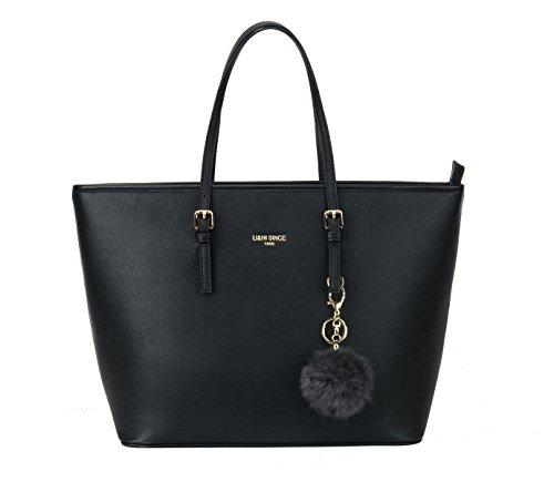 LI&HI Damen Handtasche Shopper Handtasche Schwarz Elegant Schwarze Tasche Damen Groß Schule Handtasche mit Kaninchen Pelz Kugel Plüsch Schlüsselring (Verbesserte Version) - 34/29/15.5 CM