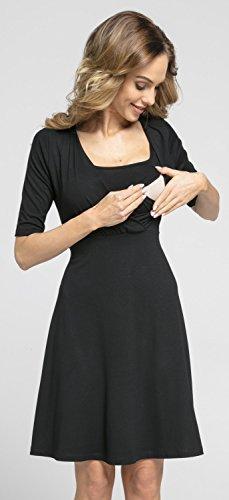 Happy Mama.Damen Umstands Skater-Kleider Stillkleid Halbe Ärmel.601p (Schwarz) - 2