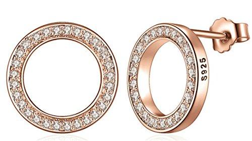 Lieberpaar Damen Retro 925 Sterling Silber Diamant Offen Kreis Ohrstecker Rosegold Ohrringe Ohrhänger Als Weinachten Geschenk