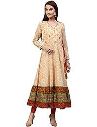 Jaipur Kurti Women's Cotton Angrakha Style Embroidered Long Kurta With Gold Print Tassels Border Printed Hem (...