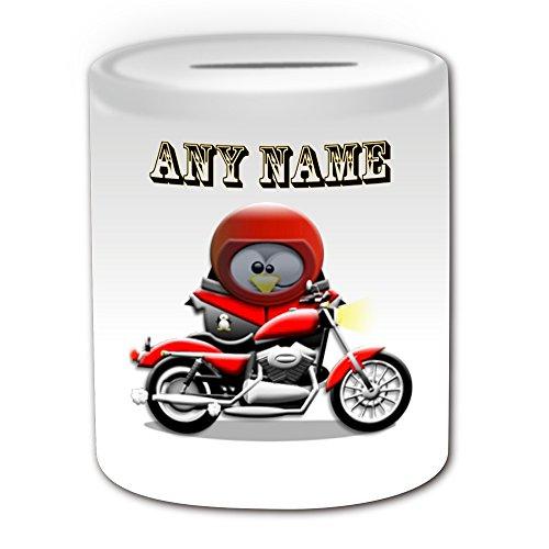 Personalisiertes Geschenk-Motorrad Spardose (Design Pinguin in Kostüm Thema, weiß)-alle Nachricht/Name auf Ihre einzigartige-Motor Rider Bike Cycle (Son In Law Kostüm)