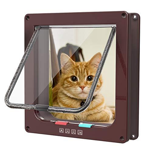 Sailnovo Puertas Para Gato 4-Modo Puerta Magnética Bloqueable de Aleta para Gato...