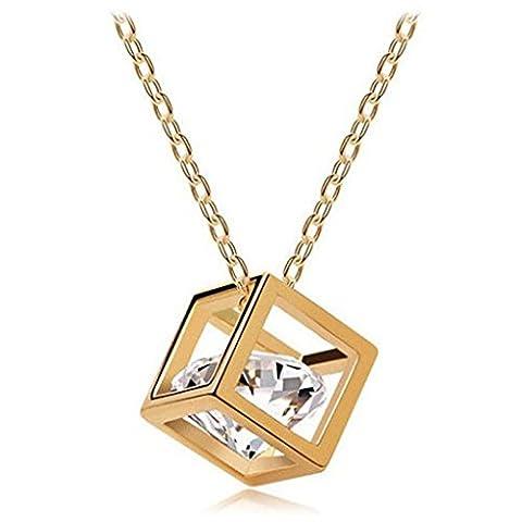 Sunnywill Frauen-Kette Crystal Strass Square Anhänger Legierung Halskette Schmuck für