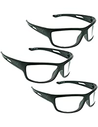 Dervin UV Protection Wrap Around Night Drive Unisex Sunglasses Combo of 3