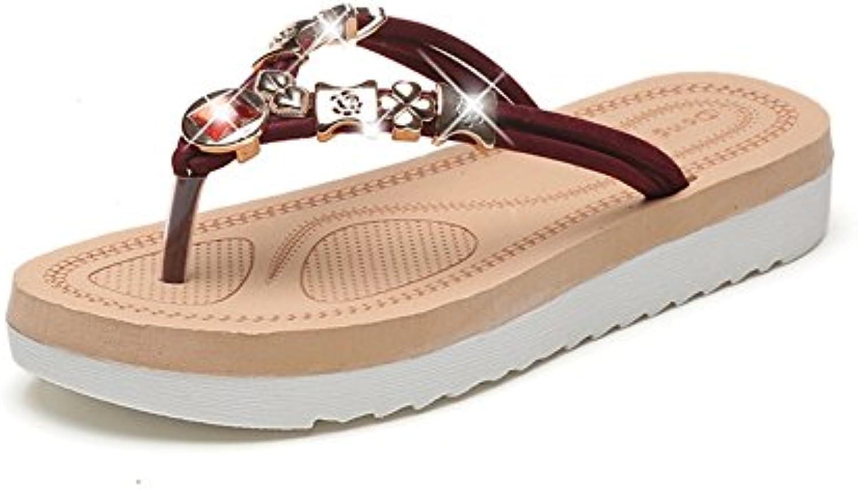 Beauty leader Lightweight outdoor flip-flops 3cm height increase Flat Flat Flat bottom Non-slip Beaded Rhinestone Pinch... 17f42e