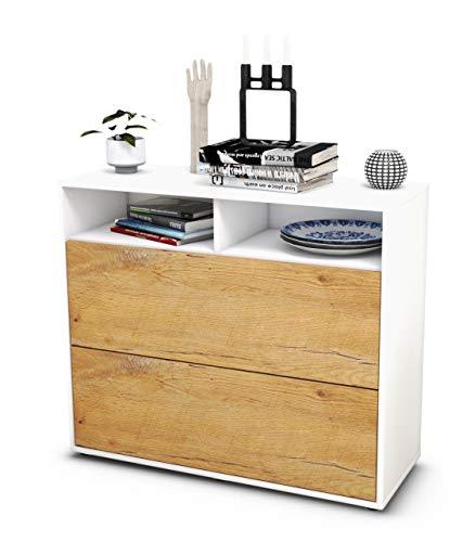 Stil.Zeit Sideboard Cosma/Korpus Weiss matt/Front Holz-Design Eiche (92x79x35cm) Push-to-Open Technik