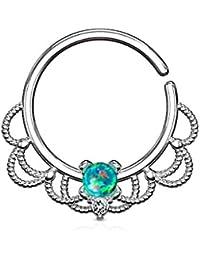Covet Jewelry Anillo de aro Flexible de Filigrana con Centro de ópalo para  Nariz 863ffffbf3e