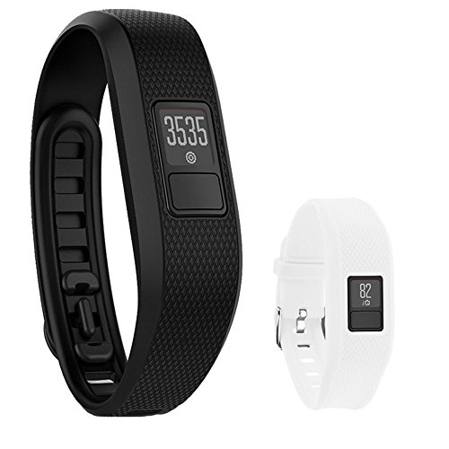 Garmin Vivofit 3 Activity Tracker Fitness Band XL Fit Black with Extreme Speed Silicone Replacement Wrist Band Strap (White)