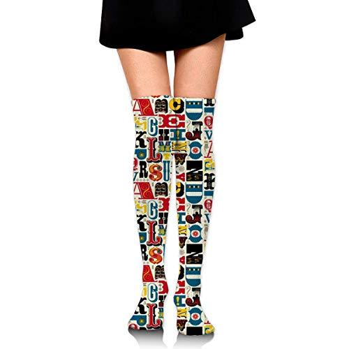 Über Das Kalb, Boot-socken (Kniehohe Socken Lustige lateinische Alphabet Lange Socken Boot Stocking Compression Socks für Frauen)