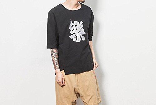 Honghu Herren Lose Textdruck Hem Spliss T-shirt Schwarz