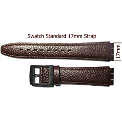 Replacement Mid Brown Buffalo Grain Leather SWATCH Watch Strap 17mm