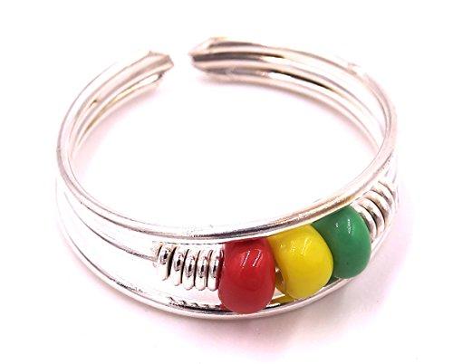 Anillo de soporte para joyas, diseño de mano, color gris, metal, anillo India regulable Ajustable perlas Rasta de reagge y el cantante Bob Marley
