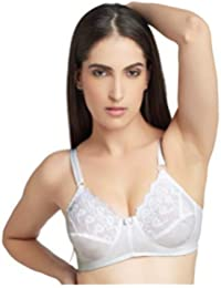 d1e1d0d9b6 DAISY DEE White Color Cotton Embroiderd Wirefree Regular Straps Seamed Full  Coverage Non Padded Bra for Women…