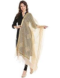 Dupatta Bazaar Women's Embroidered Beige Cotton Silk Dupatta .