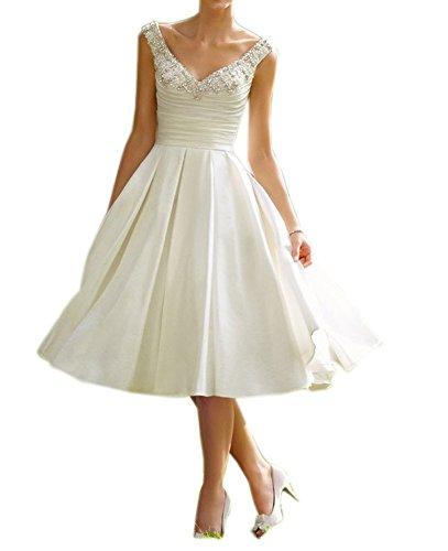 YASIOU Hochzeitskleid Damen Weiß Kurz A Linie Vintage Perlen Einfach Brautkleider