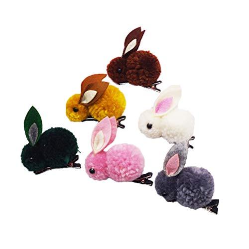 Lurrose 6 STÜCKE Plüsch Kaninchen Haarspangen Cute Bunny Haarnadeln Barrettes für Kinder Mädchen Kleinkinder