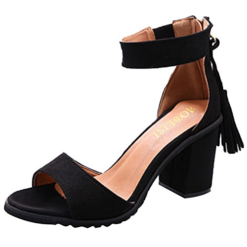 Oasap Women's Solid Peep Toe Block Heels Sandals Black
