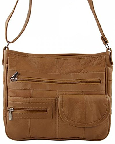 Lederhandtasche, aus echtem Leder (REF3771) Hellbraun