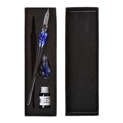 Exing Glasfeder Tinte Set,Vintage Handgefertigte Kunst Elegante Crystal Floral Glas Dip Pen Zeichen Kugelschreiber Geschenk Floral Dip