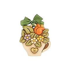 Idea Regalo - THUN® - Formella Piccola da Appendere - Bouquet Fiori in Vaso a Forma di Tazzina - Fiocco Verde - Ceramica - I Classici