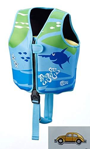 Erlebe Wasser Schwimmweste Beco 9639 Sealife Weste Gr. M 3-6 Jahre (Blau/Grün) inkl. Patches Auto Bügelbild