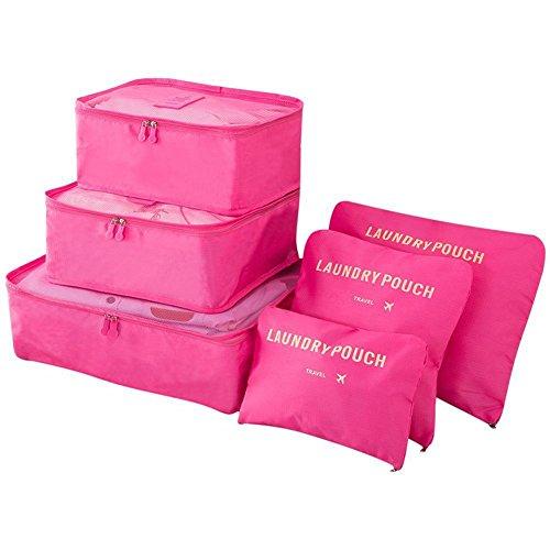 Vicloon Sistema di Cubo di Viaggio, Cubo Borse di stoccaggio, 6 pezzi Abbigliamento Intimo Abbigliamento Calzature Organizzatori Sacchi di Stoccaggio Set (Rosa rossa)