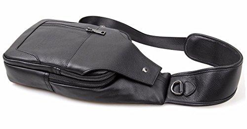 Everdoss Herren Bauchtasche Business echt Leder Schultertasche Cross Body Messenger Bag mit Schultergurt Brusttasche Freizeit Schwarz