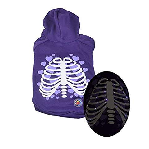 FEITONG Pet Puppy Shaking Light Clothes Halloween Rib Cage LED