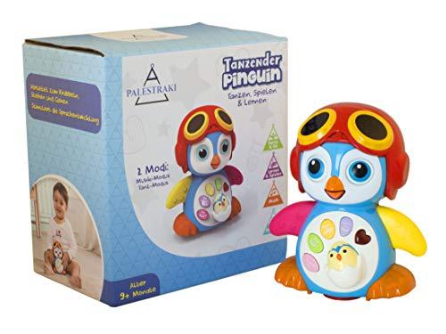 PALESTRAKI Krabbelspielzeug Baby ab 9 Monate - Motorik und Lernspielzeug - Pinguin mit Bewegung & Musik