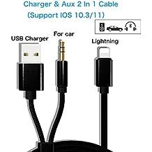 iPhone X iPhone 8/8 Plus Cable de audio AUX Cabeza de carga USB Adaptador 2 en 1, cable de audio de 3,5 mm Relámpago para iPhone 7/7 Plus para sistema estéreo de automóvil / casa (se admite iOS 11)