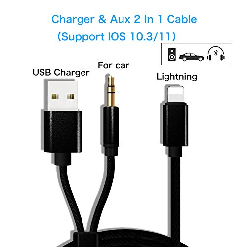 iPhone X iPhone 8/8 Plus Cable de audio AUX Cabeza de carga USB Adaptador 2 en 1, cable de audio de 3,5 mm Relámpago para iPhone 7/7 Plus para sistema estéreo de automóvil / casa (se admite iOS 11)