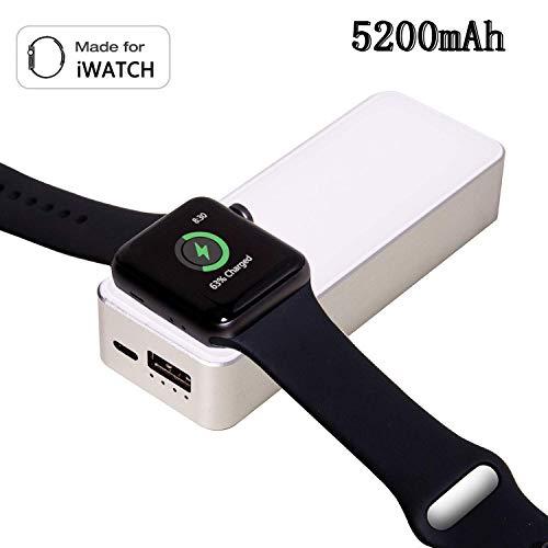 LIUSI Powerbank mit Original Magnetisches Ladegerät 5200mah Externer Akku Batterie für Apple Watch Series 4/3/2/1 iWATCH Tragbares Ladegerät für iPhone XS Mas/XS/XR/X/8 Plus/8/7, Samsung Galaxy S9/S8 - Galaxy Akku Nicht Ladegerät 3