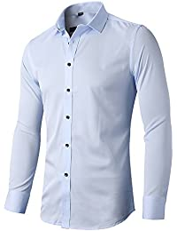INFLATION Mens Bamboo Dress Shirt Slim Fit Long Sleeve Elastic Formal Shirt Casual Solid Button Down Shirts for Men, 15 Colors