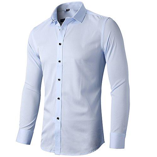 INFlATION Herren Hemd aus Bambusfaser umweltfreudlich Elastisch Slim Fit für Freizeit Business Hochzeit Reine Farbe Hemd Langarm Herren-Hemd, Gr.2XL, Hellblau