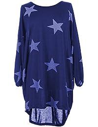 17efc56edf3 AHR  Z H New Italian Womens Ladies Batwing Stars Print High Low Hem  Lagenlook Fine Knitted